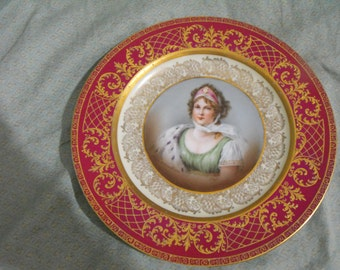 Antique Royal Vienna Portrait Plate Queen Louise of Prussia