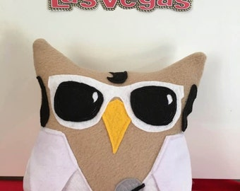 Owl-vis Plush Owl- Inspired by Elvis- Plush Elvis Owl- Elvis Plush toy -Owl-vis is in the House