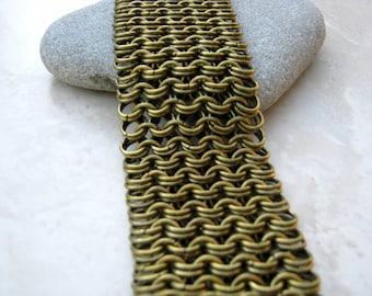 SALE Women's Brass Chainmaille Bracelet, Womens Chain Bracelet, Antique Brass Bracelet, Wide Statement Bracelet, Womens Cuff Bracelet, Arret