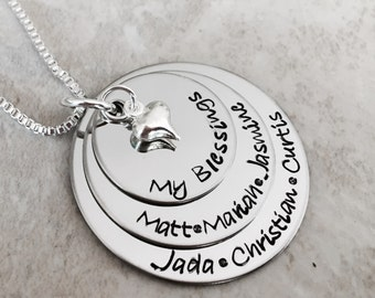 My blessings necklace grandmas blessings personalized necklace with children names kid names mother gift grandmother custom jewelry