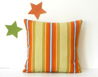 Striped Outdoor Pillow Cover, 18x18 Orange Green Gold Blue Accent Sunroom Pillow, Porch or Patio Pillow, Deck Cushion Cover, Pool Chair Sham