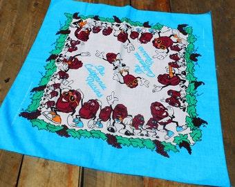 Vintage 80s California Raisins Unused Bandana Handkerchief