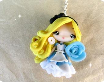 Alice in Wonderland  Polymer clay Necklace Kawaii