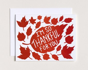 CLEARANCE - I'm So Thankful For You Card - Screenprinted - Thanksgiving Card - Autumn Card - Leaves Card - Simple Thank You - Grateful