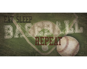 MA2125A - Eat, Sleep, Baseball, Repeat - 18 x 9