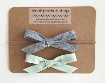 Mint and Chambray Simple Fabric Bow Nylon Elastic or Alligator Clip Baby Toddler Petite School girl