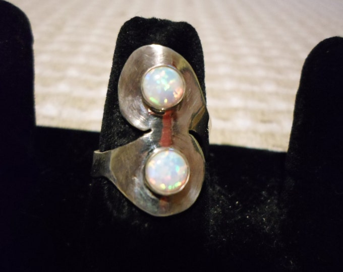 spoon style 2 6mm stone ring created opal