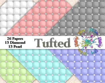 26 Tufted Digital Papers | Diamonds & Pearls | Instant Download