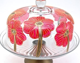Red Poppy Cake Dome & Pedestal Set - Hand Painted