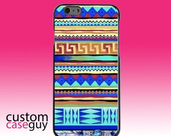Hard Snap-On Case for Apple 5 5S SE 6 6S 7 Plus - CUSTOM Monogram - Any Colors - Blue Red Yellow Tribal Print