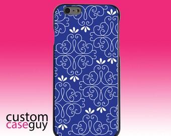 Hard Snap-On Case for Apple 5 5S SE 6 6S 7 Plus - CUSTOM Monogram - Any Colors - Dark Blue White Floral