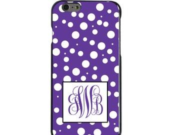 Hard Snap-On Case for Apple 5 5S SE 6 6S 7 Plus - CUSTOM Monogram - Any Colors - Purple White Dots Purple Initials
