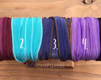 Silk Wrap Bracelet,additional silk, mix and match,yoga wrap, black, denim, turquoise, lilac, raspberry