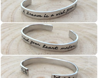 """Hand Stamped Cuff, """"a dream is a wish your heart makes""""  with stars, adults or junior size, can also be personlaised"""