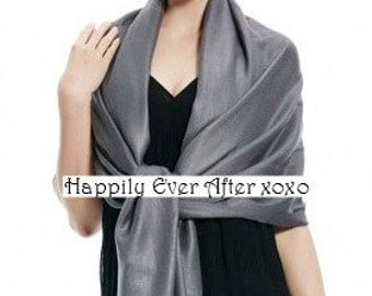 Pashmina Shawl Wedding Wrap Charcoal Grey Shoulder Wrap