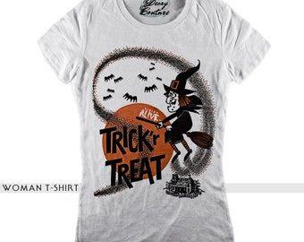 TRICK OR TREAT T-shirt, scoop neck, Halloween t-shirt, witch t-shirt, bats, man t-shirt, witches clothing