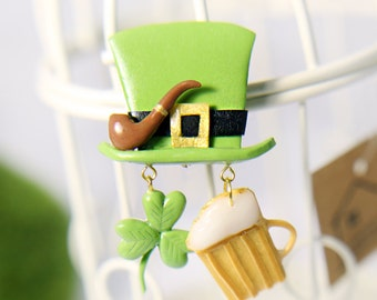 St patrick day gift Irish party ideas Irish party games St patricks day funny  Saints St patrick clover Broosh patrick hat Brooch Ireland