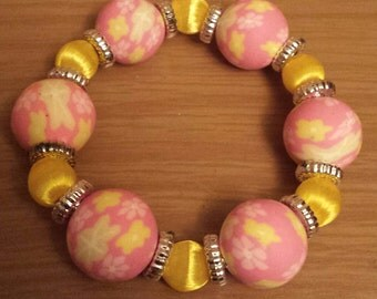 Chunky pink and yellow bracelet