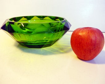 Vintage Green Faceted Art Glass Bowl - Emerald Green Unique Cut Art Glass Bowl - Heavy Glass Bowl - Deep Green Glass Dish