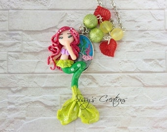 Necklace Ariel on Cameo - POLYMER CLAY