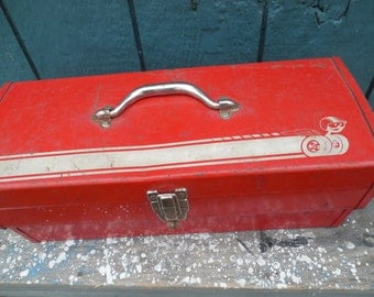 Primitive Red Industrial Tool Box...Speedy Car Racer Decal