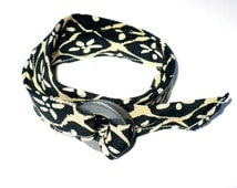 Unisex Wrap Bracelet Upcycled NECKTIE & Machinery Washer Eco-design Jewelry Men, Women, Unisex Black Beige Floral