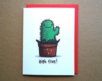 Card - High Five! - From, Cactus