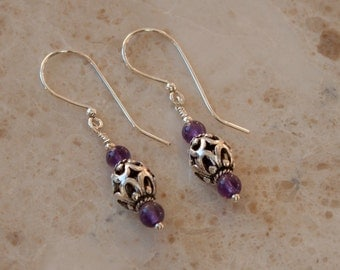 Bali Sterling Silver and Amethyst Earrings; Amethyst  Silver Earrings