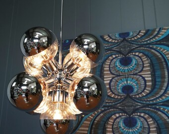1970s LIGHTCRAFT CALIFORNIA CHANDELIER chrome bubble light sputnik : vintage hollywood regency glamour