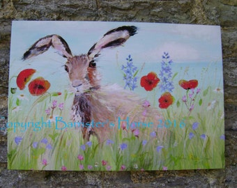 MEADOW HARE, A3 Canvas Wrap Print From My Acrylic Art - Ready to hang