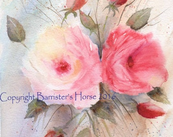 ROSES & ROSEBUDS, fine art, Giclee Watercolour Painting Print A4. Archival quality inks
