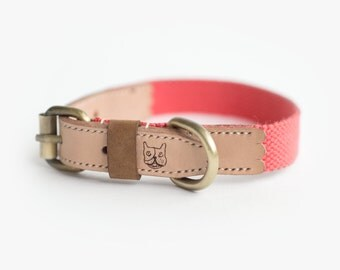 Natural Leather Collar with Salmon Pink Hemp Cotton