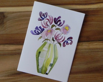 Vase of Flowers Card Set, blank notecards and envelopes, watercolor, purple, pink and green