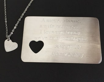 Personalized Wallet Card. Monogram Stainless Steel Message Card. Stainless steel Heart Necklace.Anniversary Gift.Customized Couples Gift Set