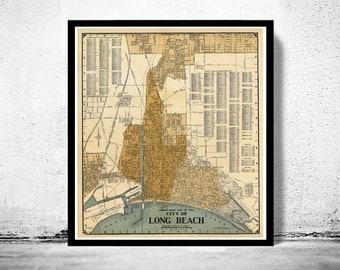 Old Map of Long Beach California 1920
