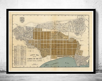 Old Map of Carmel By The Sea California 1920