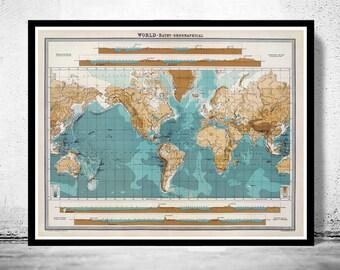 Vintage World Map bathy-orographical 1922