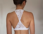 Bralette. White Lace Bralette. Triangle Back Halter Wireless Bra Top. Bridal Lingerie