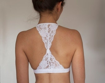 Bralette. White Lace Bralette. White Bralette. Triangle Back Halter Wireless Bra Top. Bridal Lingerie