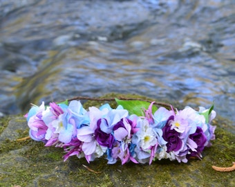 Purple and Blue Spring Flower Crown Hair Wreath