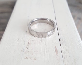 Stainless Steel Name Ring Hand Stamped stacking ring Hand stamped jewlery 4mm ring couples ring mothers ring