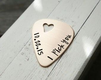 custom Hand stamped bronze guitar pick open heart 8 year anniversary gift