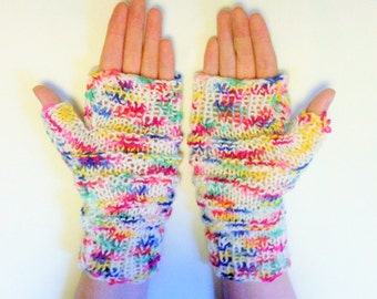 Multicoloured ladies long gloves - gauntlets - fingerless mittens - colourful
