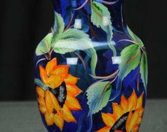 "8"" Clear Cobalt  Blue Vase / Handpainted Sunflowers"
