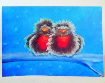 Christmas Card Print - Robins