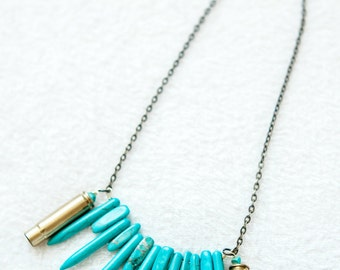 "Fun ""Spiked"" Turquoise and Bullet Shell Casing Necklace!"