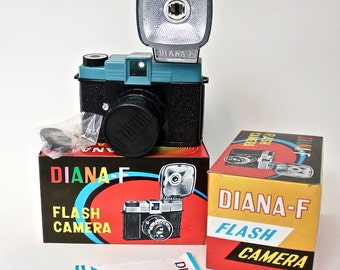 Vintage Diana- F Camera with Original Box and Manual for Lomography