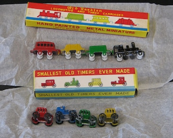 miniture car and train set hand painted NOS 1960's