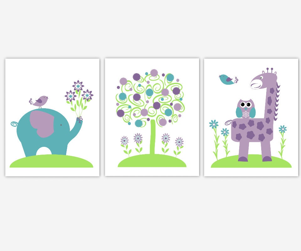 Nursery wall art set of 3 navy blue nursery baby animal prints - Lavender Baby Girl Nursery Wall Art Purple Teal Green Giraffe