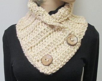 Tan Crochet Button Wrap, Fall Scarves, Chunky Knit Cowl, Warm Winter Scarf, Chunky Scarves, Button Wrap Scarf, Fashion Scarf, Fabiana B2-019